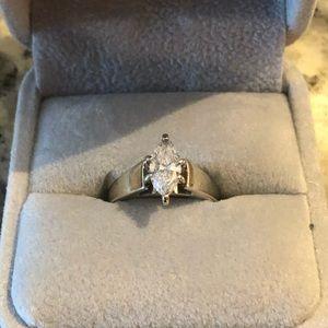 Marquise diamond engagement and wedding band